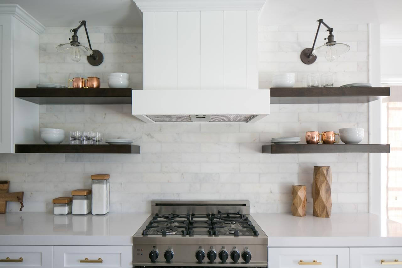 shelves in the kitchen
