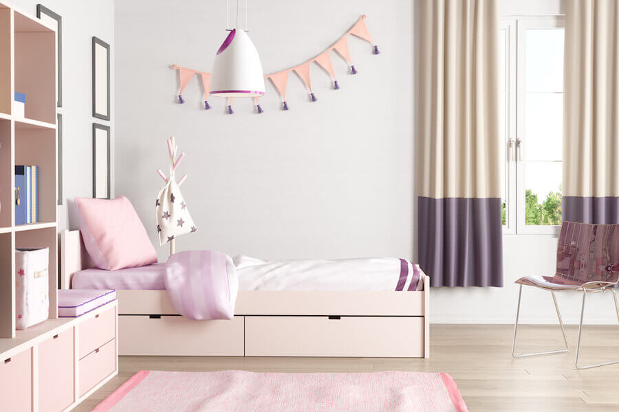 pink themed bedroom for girls