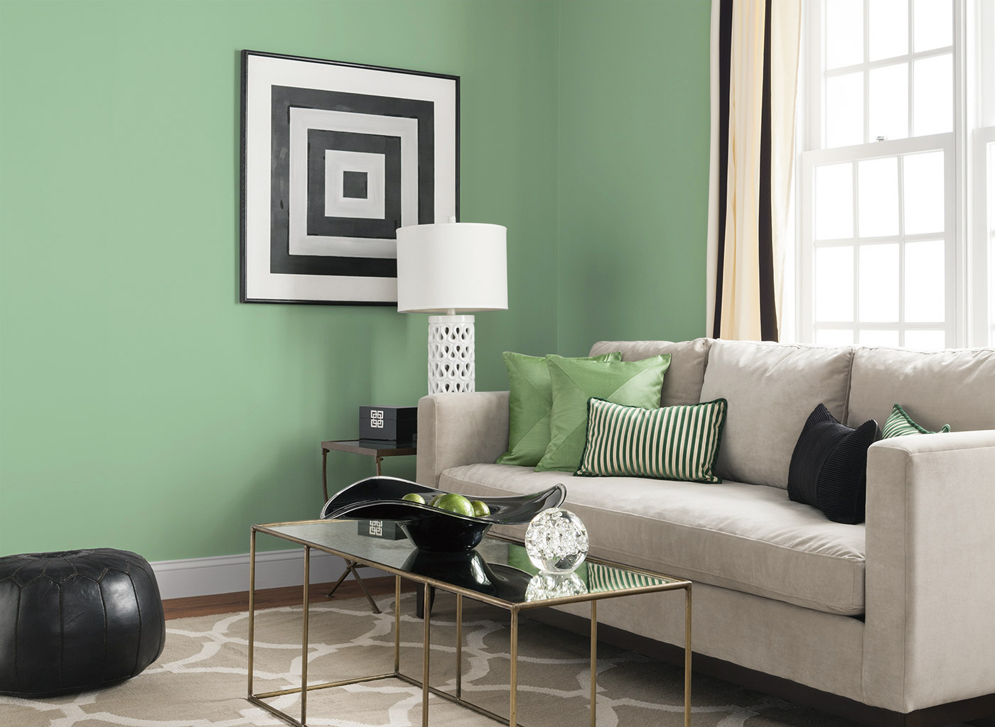 Green combination in living room