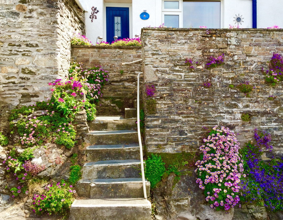 Flower lined staircase