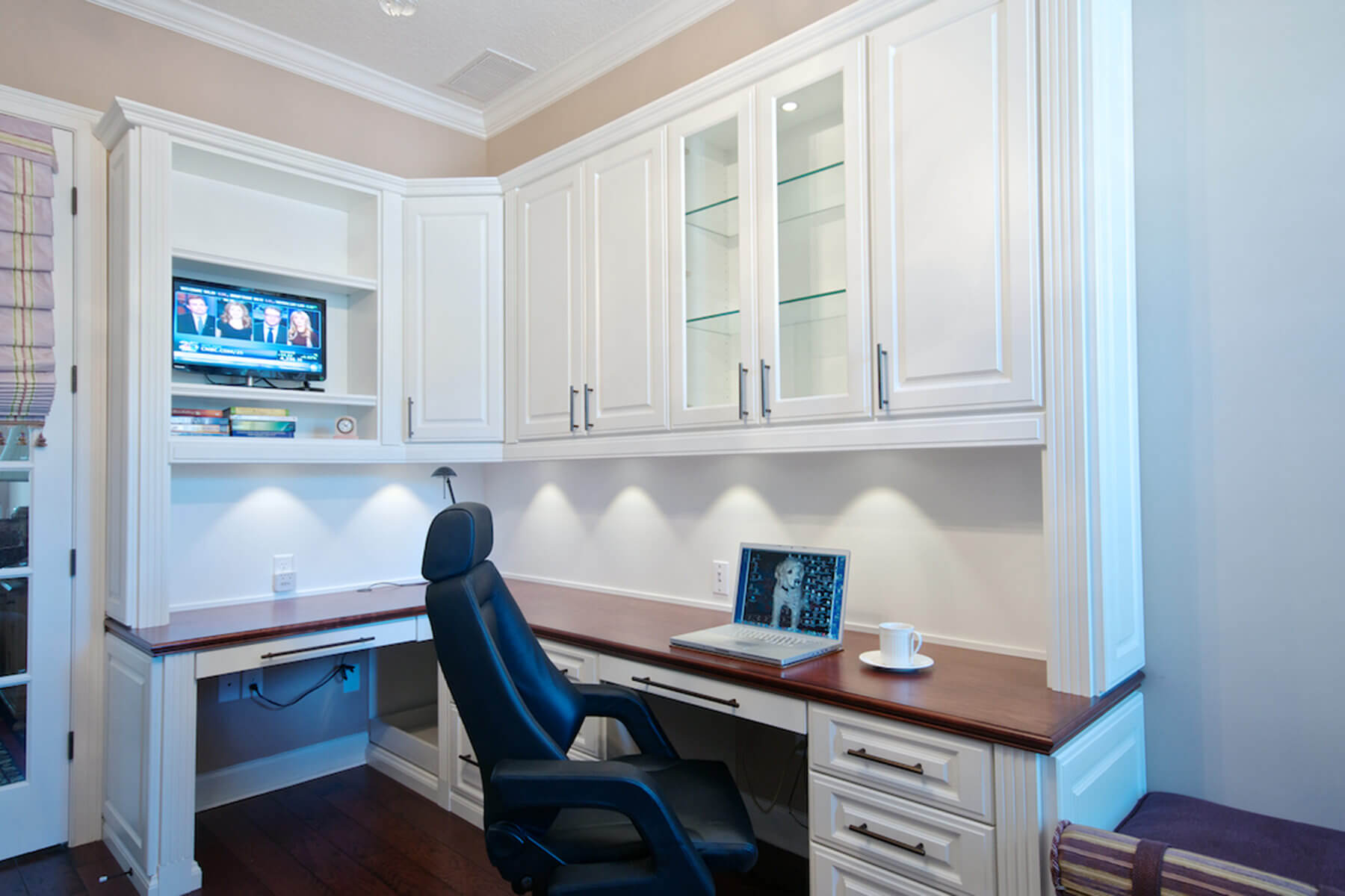 small office with white interior