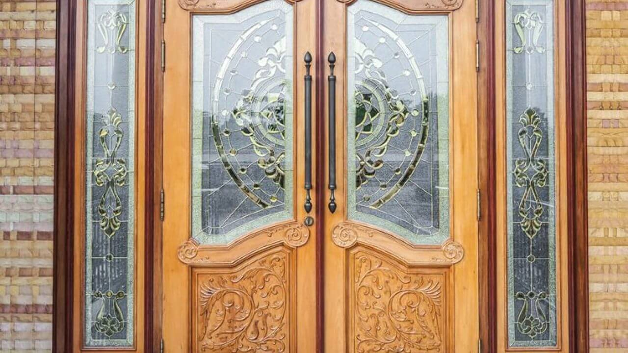 wooden and glass panel doors