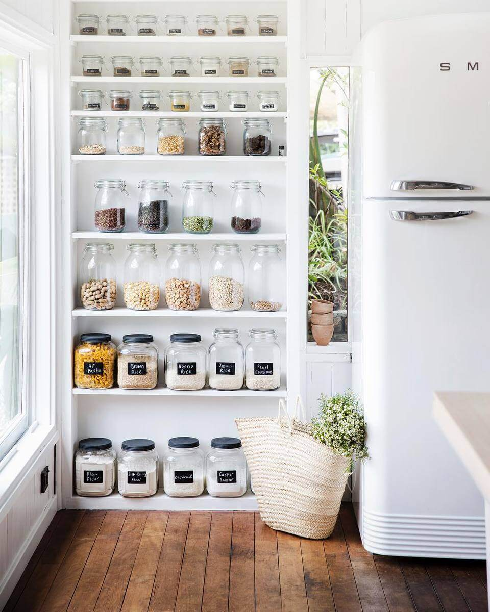 Use Open Shelves for a Pantry in Kitchen