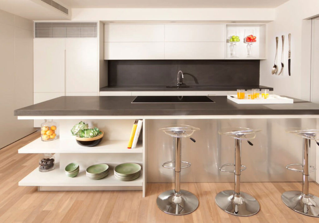 Open Shelves incorporated on Kitchen Island