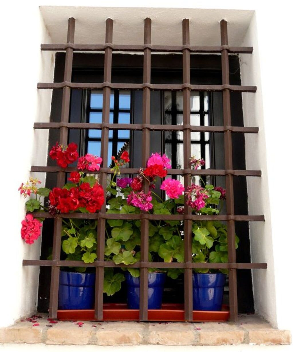 modern window grill design with industrial rod